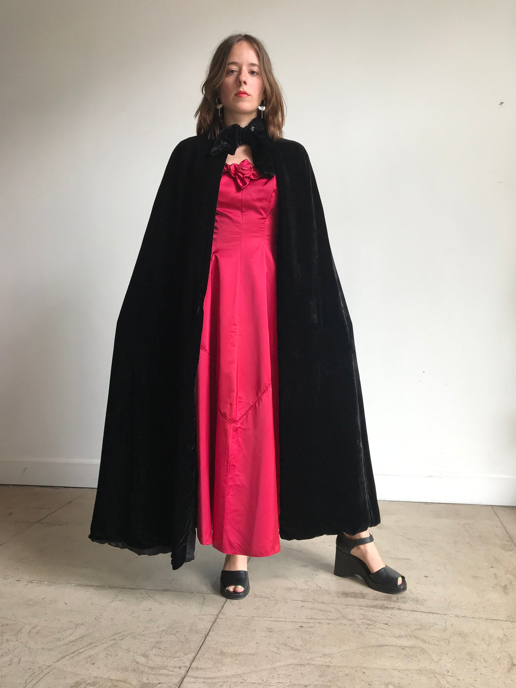 1920s Black Silk Velvet Long Cape