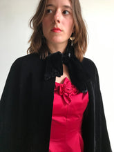Load image into Gallery viewer, 1920s Black Silk Velvet Long Cape