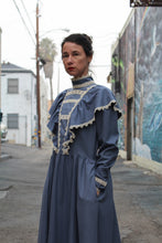 Load image into Gallery viewer, 1970s Jessica McClintock Blue Silk Victorian Dress