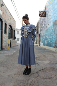 1970s Jessica McClintock Blue Silk Victorian Dress