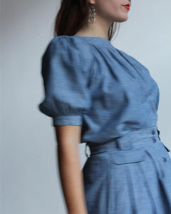1980s Chambray Western Blouse + Skirt Set