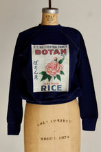 Load image into Gallery viewer, Botan Rice Blue Vintage Raglan Sweatshirt - XS