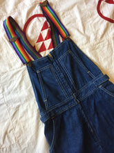 Load image into Gallery viewer, 1970s Rainbow Strap Denim Overall Dress