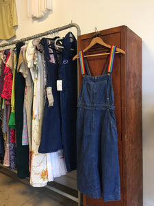 1970s Rainbow Strap Denim Overall Dress