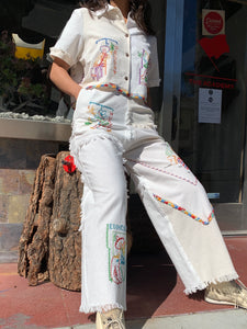 Mexican Cowboy Days of the Week Fringe Patchwork Pants