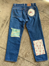 Load image into Gallery viewer, Satisfaction Patchwork Dark Wash Levi's 501