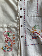 Load image into Gallery viewer, Mexican Cowboy Days of the Week Linen Fringe Shirt