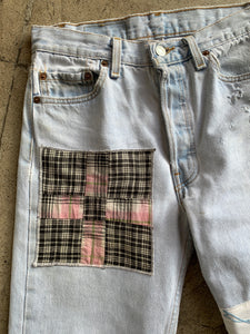 Belle and the Birdie Patchwork Levi's 501 Light Wash Jeans <Waist 28>