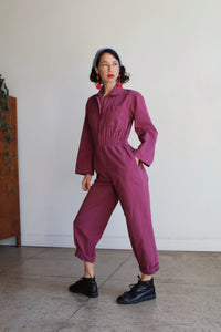 1980s Plum Coveralls Jumpsuit