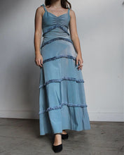 Load image into Gallery viewer, 1940s Periwinkle Taffeta Fringe Gown