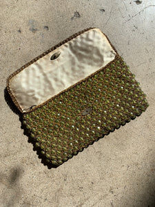 1960s Italian Green Plastic Beaded Crochet Clutch