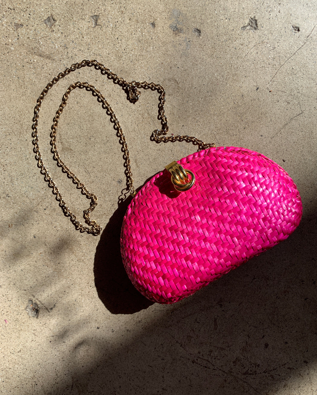 1980s Hot Pink Woven Purse