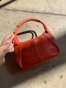 1990s Cole Haan Pumpkin Spice Leather Handbag