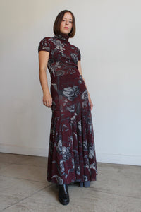 90s Fuzzi Mesh Floral Print Layered Maxi Dress