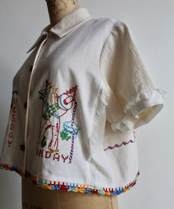 Mexican Cowboy Days of the Week Fringe Crop Top