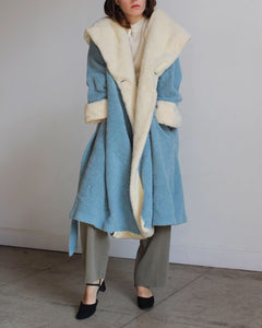 1980s Sky Blue Sweater Coat
