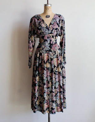 1980s Floral Cinched Waist Dress