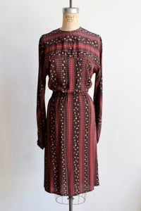 1970s Silk Scarf Print Long Sleeve Dress