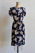 Load image into Gallery viewer, 1940s Blue + White Floral Print Rayon Flutter Sleeve Dress