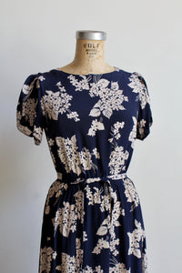 1940s Blue + White Floral Print Rayon Flutter Sleeve Dress