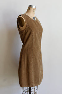 1970s Tan Corduroy Jumper Dress