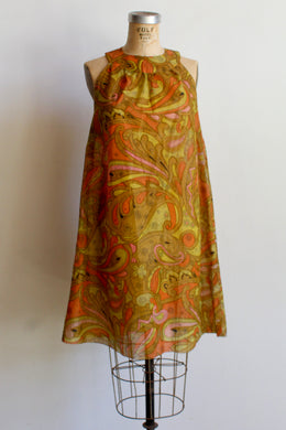 1960s Psychedelic Crepe Paper Dress