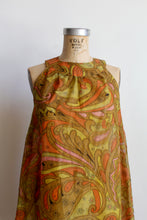 Load image into Gallery viewer, 1960s Psychedelic Crepe Paper Dress