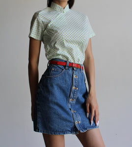 90s Denim Button Front Skirt