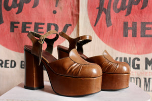 1970s Brown Leather Platforms