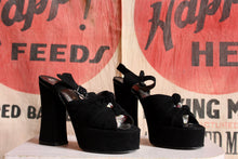 Load image into Gallery viewer, 1970s Black Suede Platform Sandals