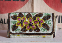 Load image into Gallery viewer, 1960s Brown Floral Beaded Clutch