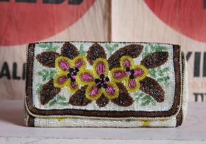 1960s Brown Floral Beaded Clutch
