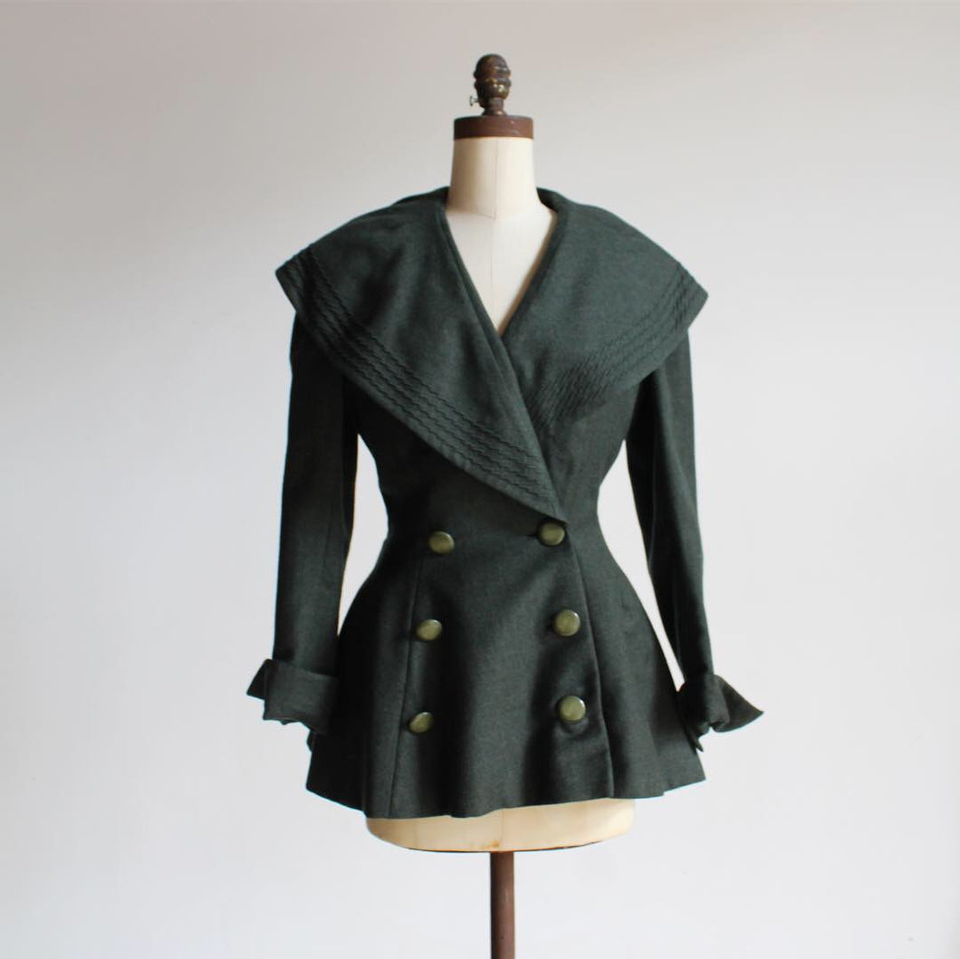 1940s Green Wool Princess Jacket