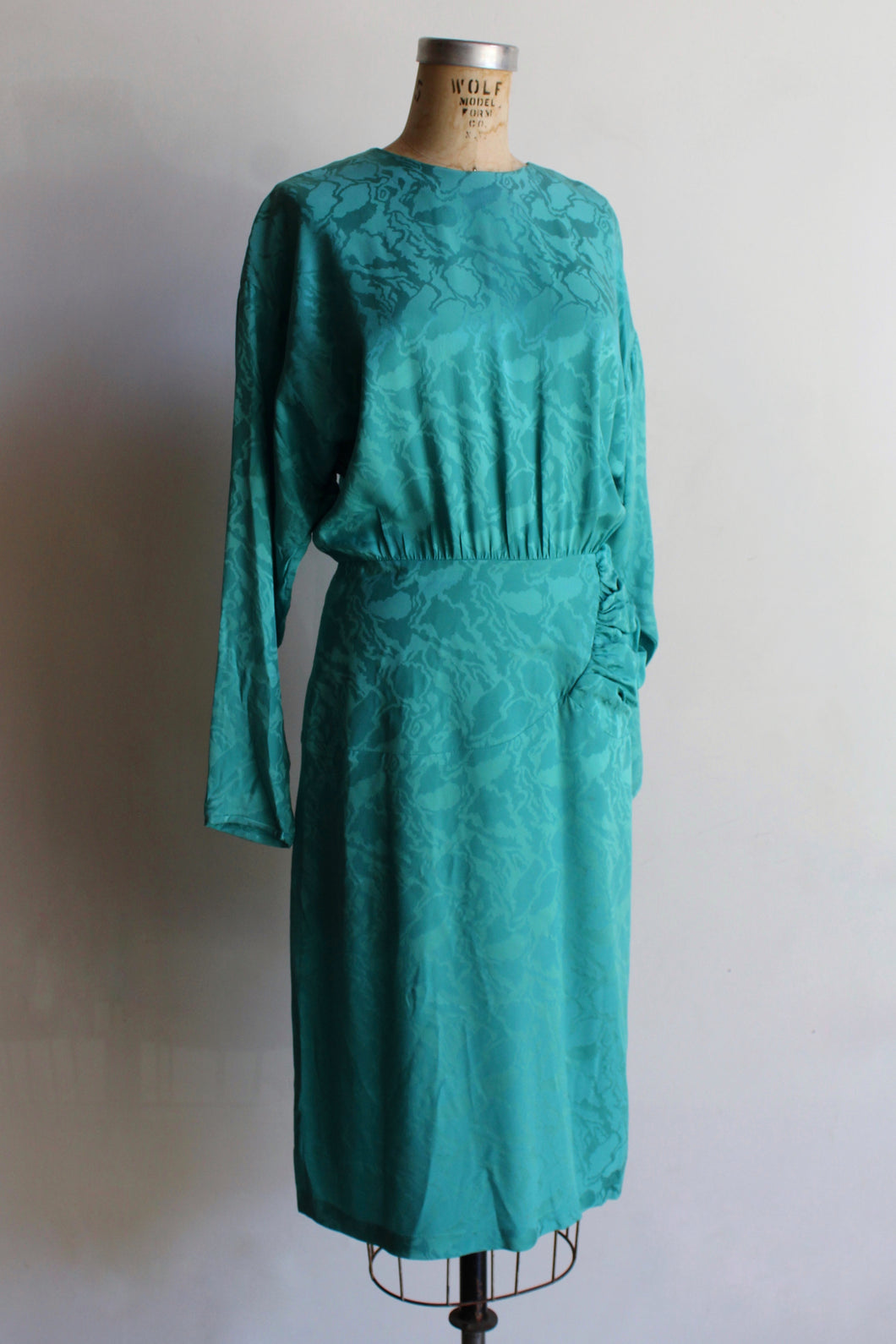 1980s Silk Turquoise Midi Dress