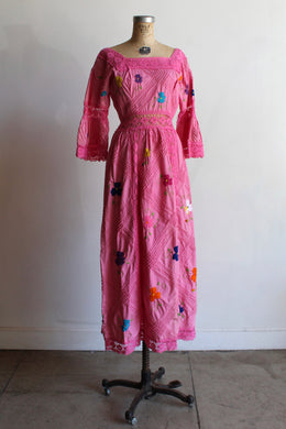 1970s Pink Crochet Mexican Wedding Dress