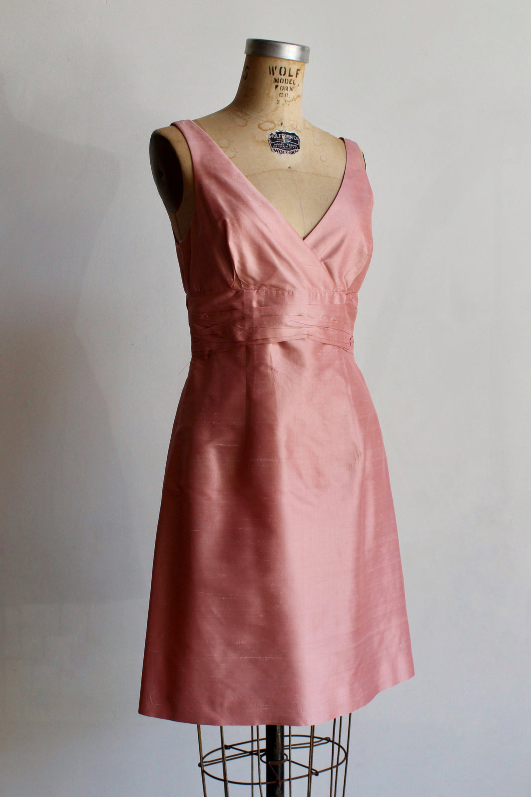 1990s Baby Pink Raw Silk Mini Dress