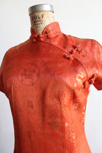 Load image into Gallery viewer, 1960s Orange Gold Silk Brocade Cheongsam Qipao Dress