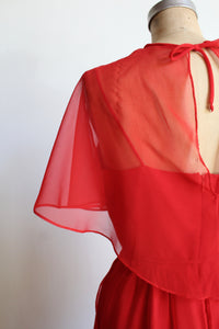 1970s Red Asymmetrical Caplet Maxi Dress