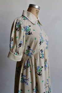 1970s Cotton Floral Print Babydoll Dress