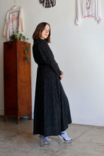 Load image into Gallery viewer, 1980s Black Calico Print Duster Dress