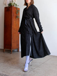 1980s Black Calico Print Duster Dress