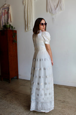 1960s White Satin Puff Sleeve Lace Gown