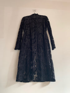 90s Black Lace Duster Jacket