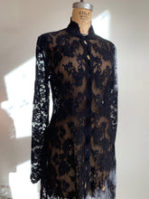 Load image into Gallery viewer, 90s Black Lace Duster Jacket