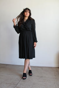 1970s Black Ruffle Dress