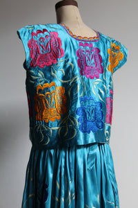1930s-40s Mexican Huipil Dress - Silk Embroidered Blouse + Skirt Set