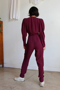 1970s Fitted Plum Jumpsuit
