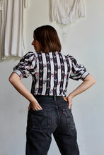 Load image into Gallery viewer, 1980s Striped Floral Puff Sleeve Blouse