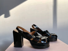 Load image into Gallery viewer, 1970s Black Patent Leather Platforms