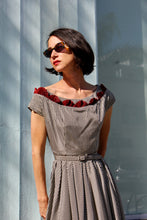 Load image into Gallery viewer, 1950s Gingham Taffeta Fan Collar Dress